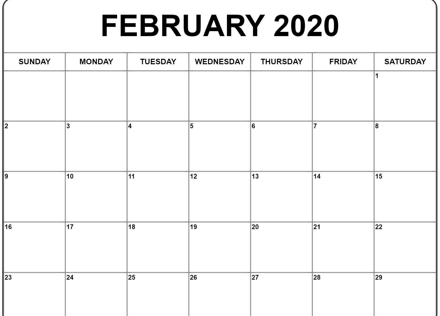 2020 Editable February Calendar Word