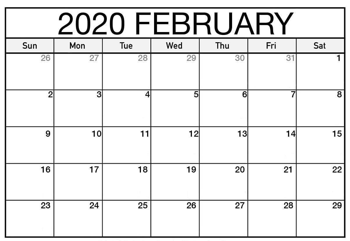 2020 Editable February Calendar