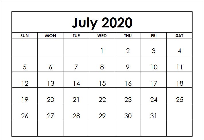 2020 July Printable Calendar Blank