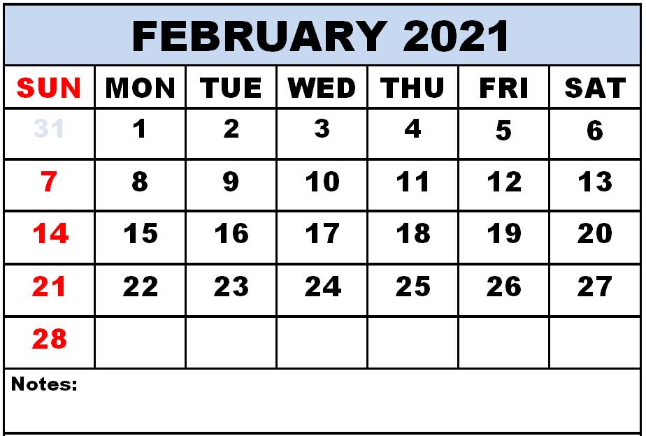 2021 Editable February Calendar