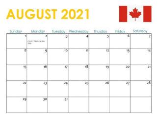 August 2021 Canada Holidays Calendar
