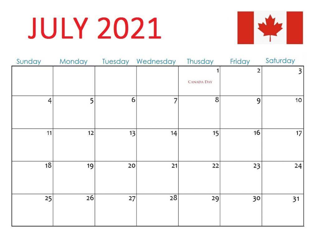 Canada July 2021 Holidays Calendar