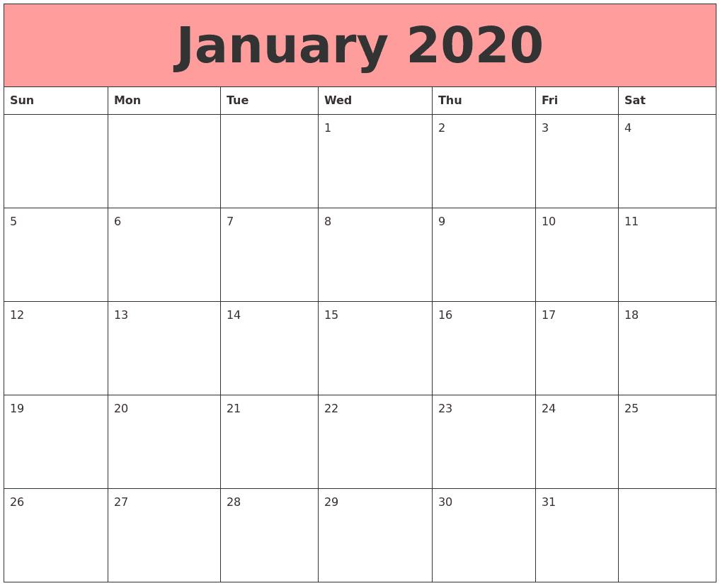 Cute January 2020 Calendar Pink