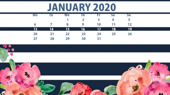 Cute January 2020 Calendar Wallpaper