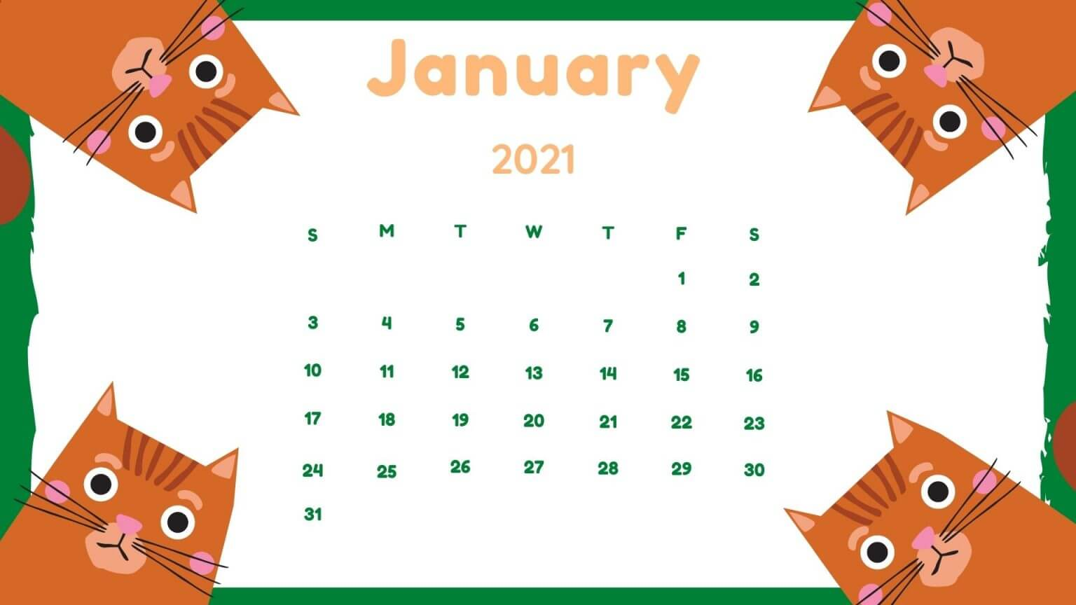 Cute January 2021 Calendar For Kids