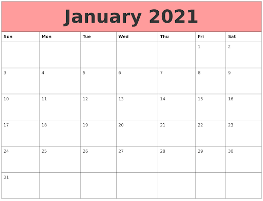 Cute January 2021 Calendar Pink Design