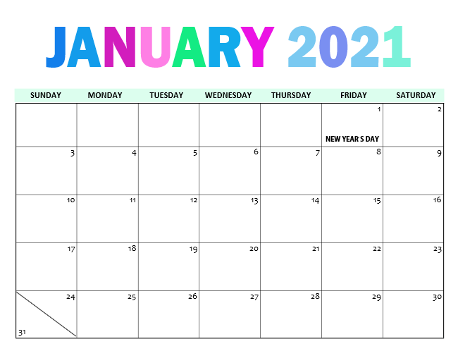 Cute January 2021 Calendar Printable