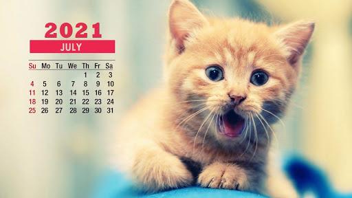Cute July 2021 Calendar Screensaver