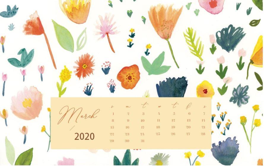 Cute March 2020 Calendar Floral Wallpaper