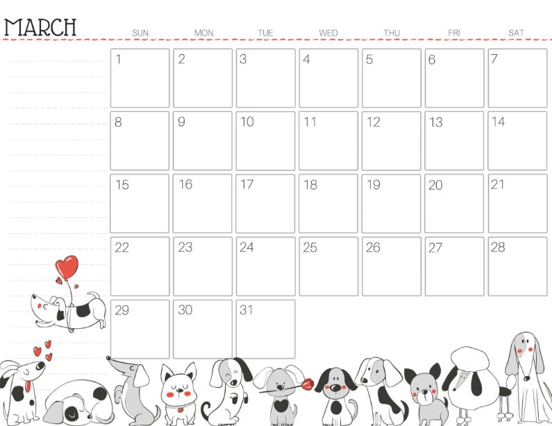 Cute March 2020 Calendar With Notes