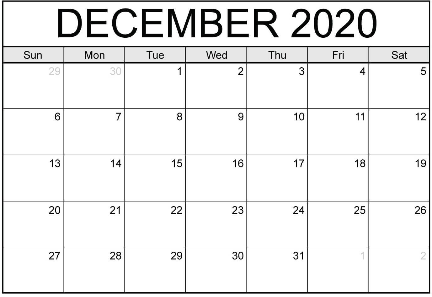 December 2020 Calendar Editable