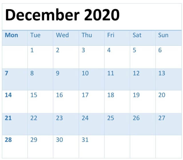 December 2020 Calendar Fillable