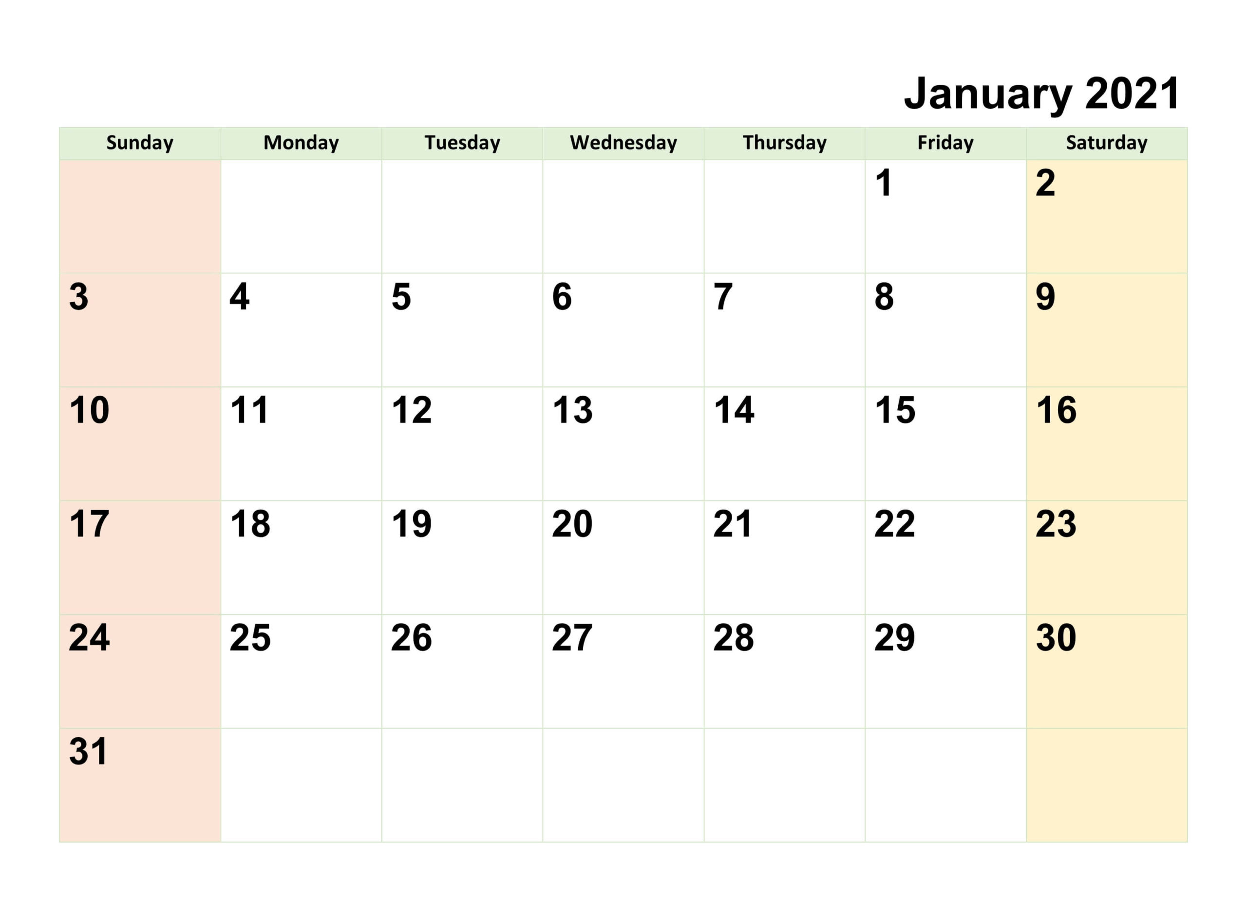 Edit January 2021 Calendar Template