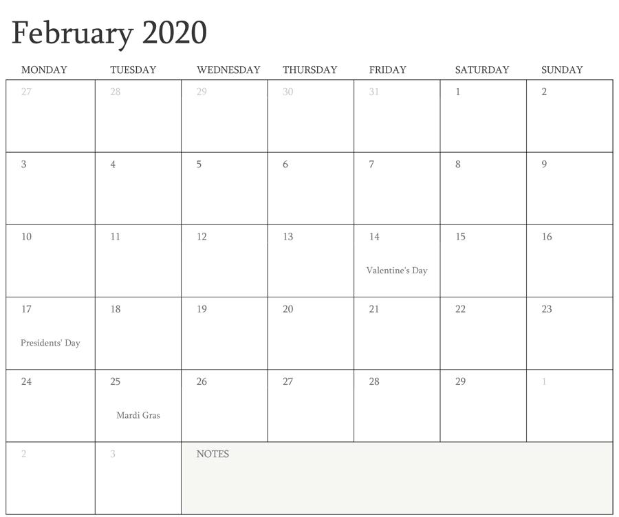 Editable February 2020 Holidays Calendar
