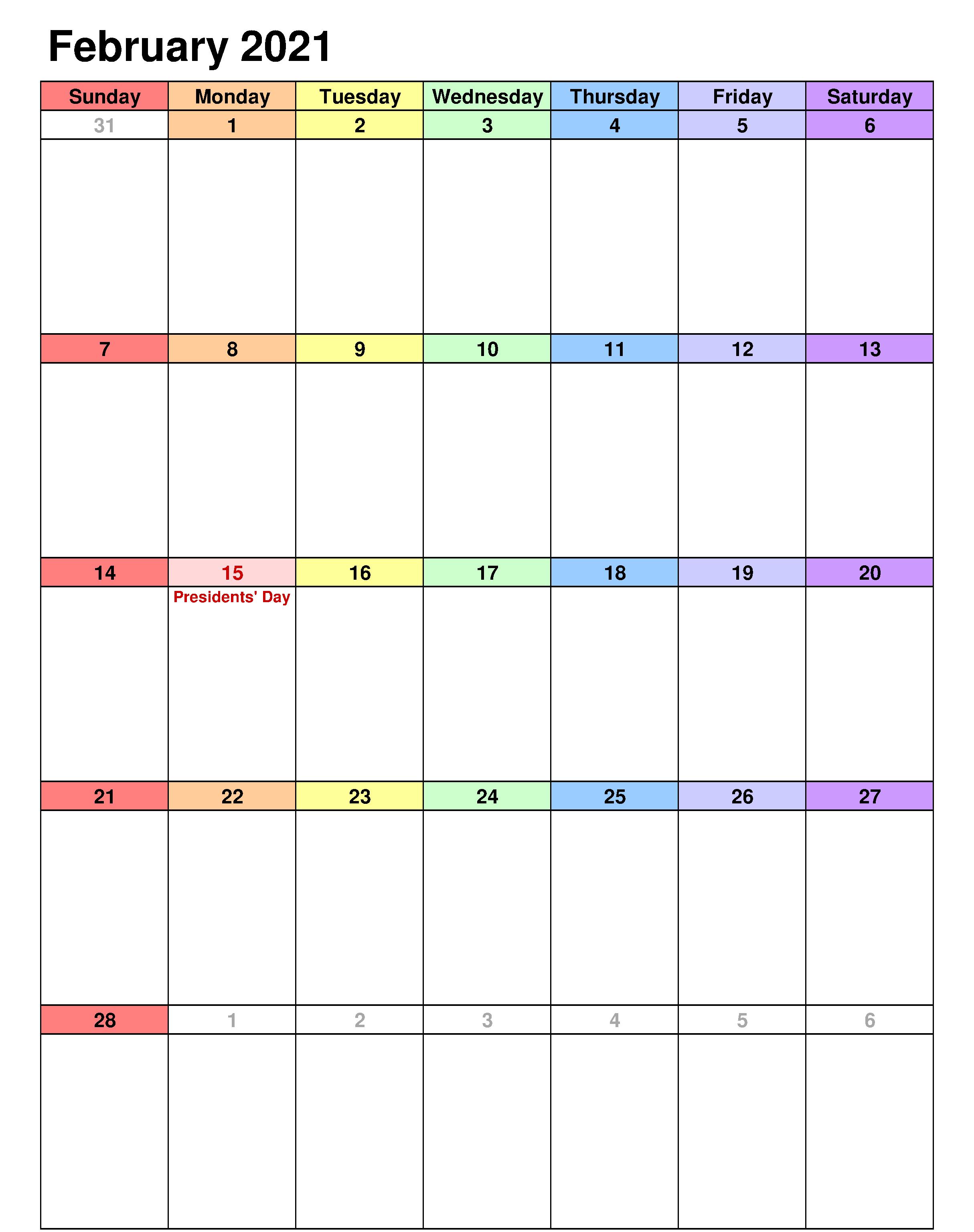Editable February 2021 Calendar Excel