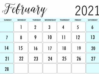 Editable February 2021 Printable Calendar