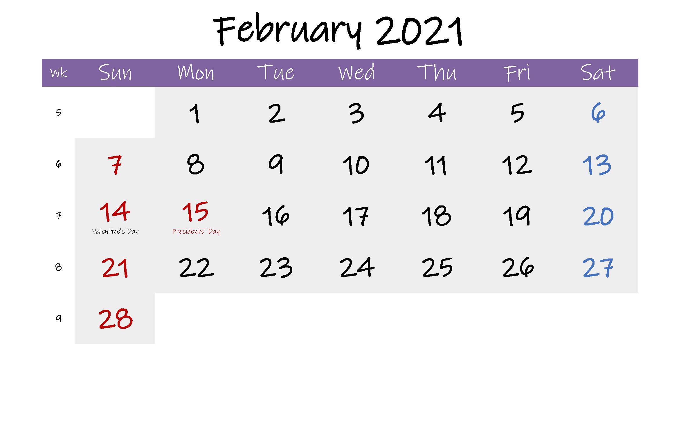 Editable February Calendar 2021