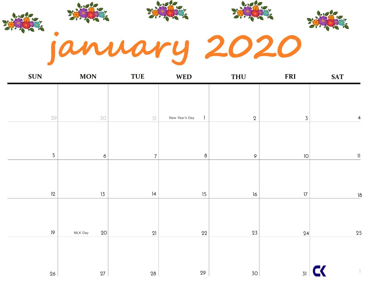 Editable January Calendar 2020 Cute