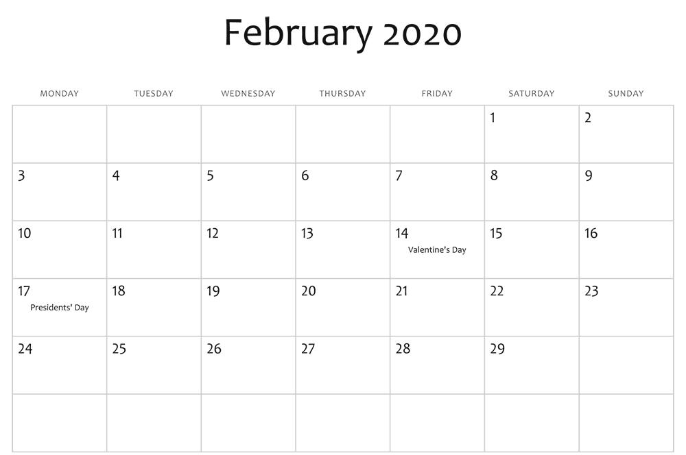 February 2020 Editable Calendar Holidays