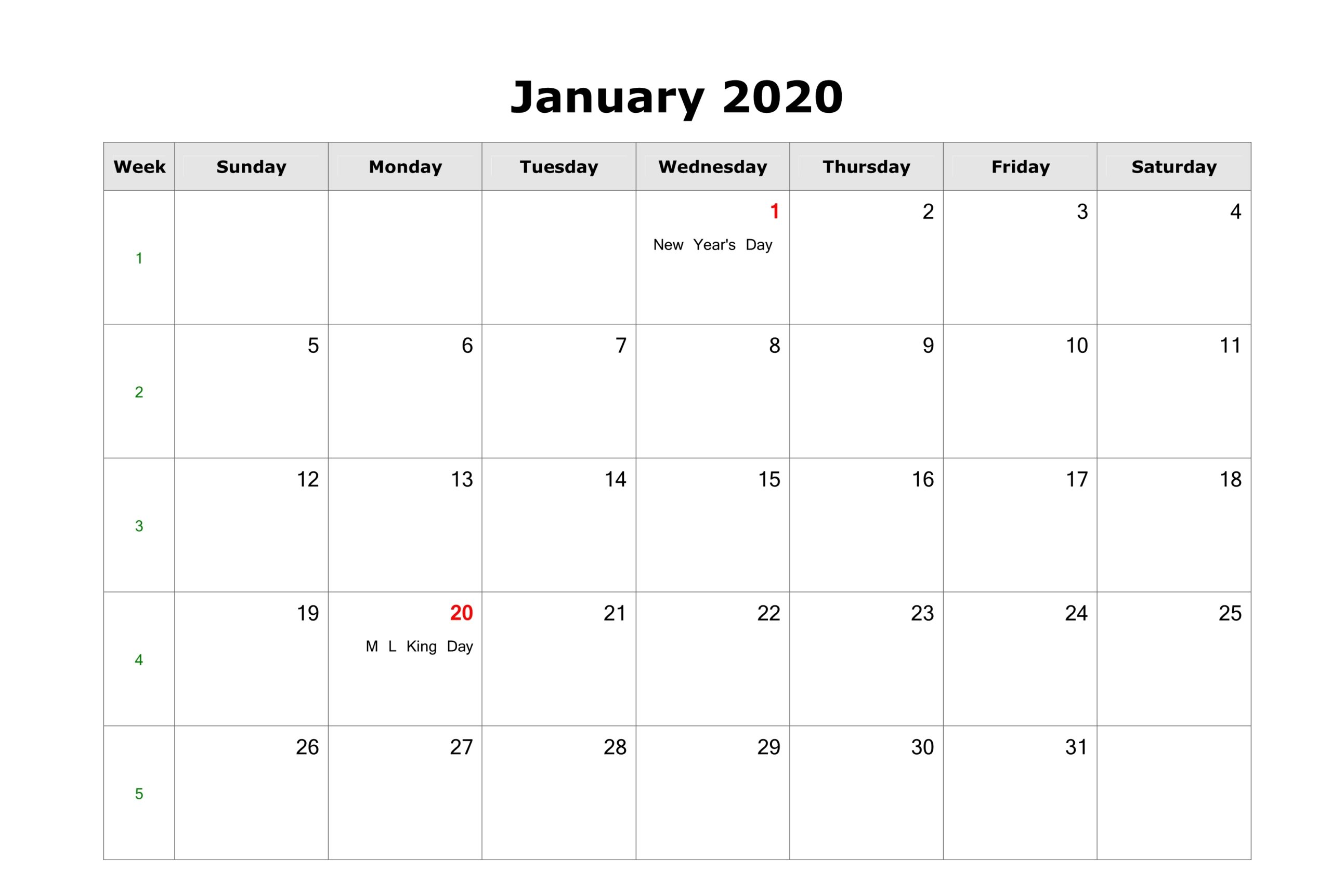 Fillable January Calendar 2020 Printable Editable with Notes 1