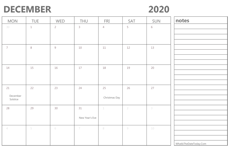 Fillable December 2020 Calendar Template