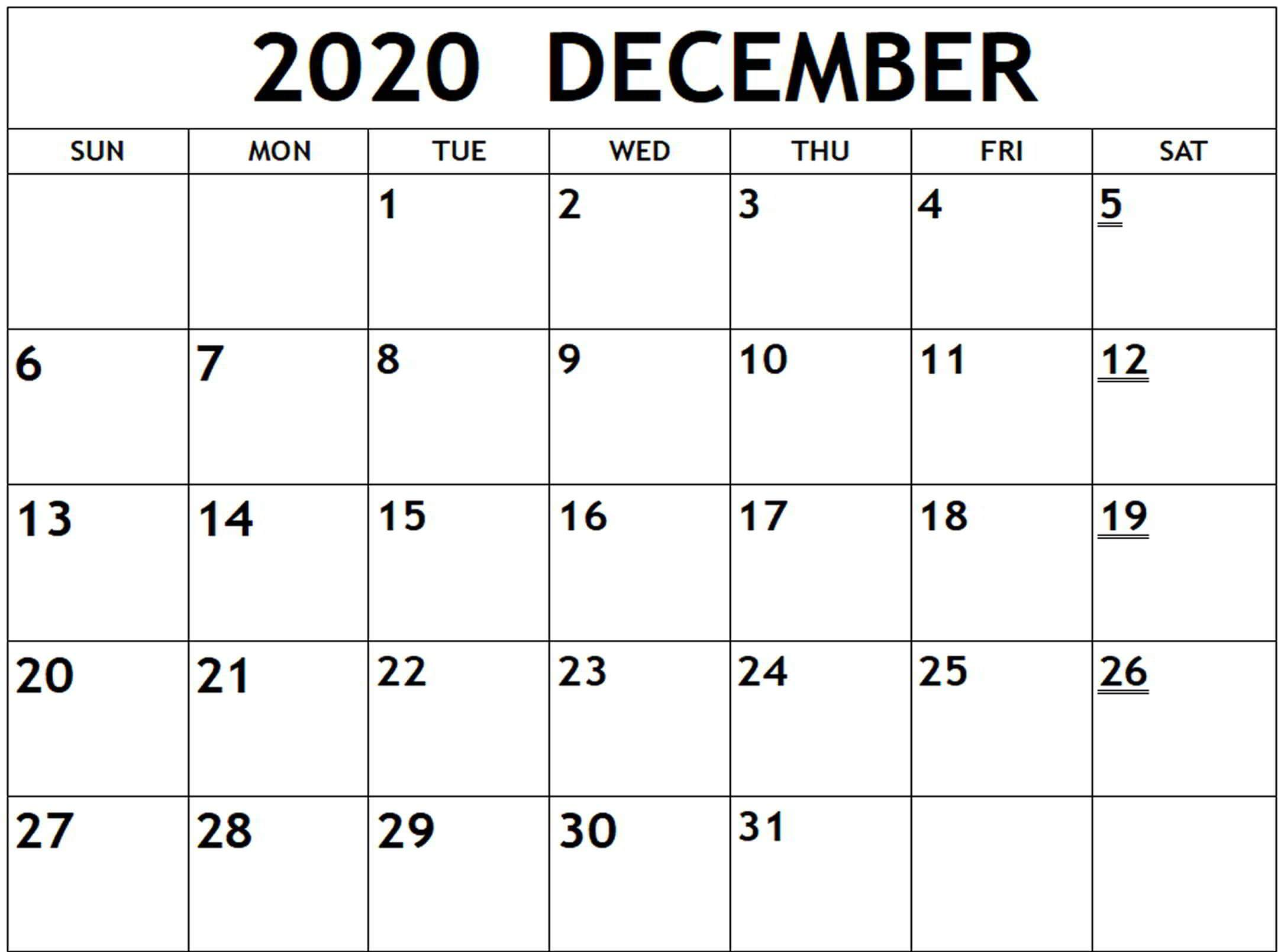 Fillable December 2020 Calendar Word