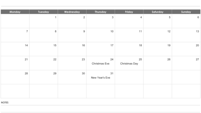 Fillable December 2020 Calendar with Notes