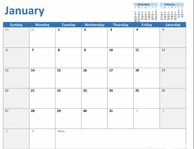 Fillable Janaury 2021 Blank Calendar