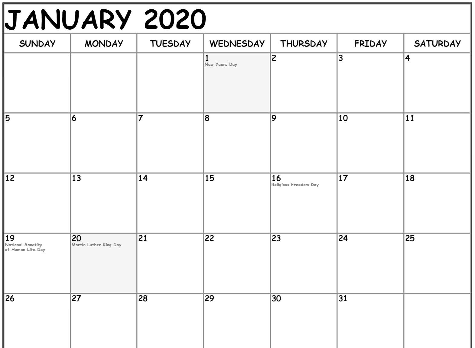 Fillable January 2020 Calendar Template