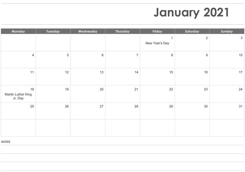 Fillable January 2021 Calendar Templates