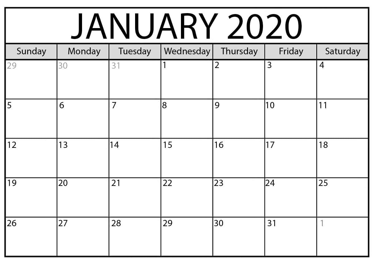 Fillable January Calendar 2020