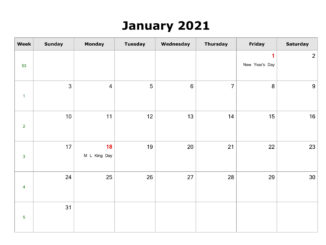 Fillable January Calendar 2021