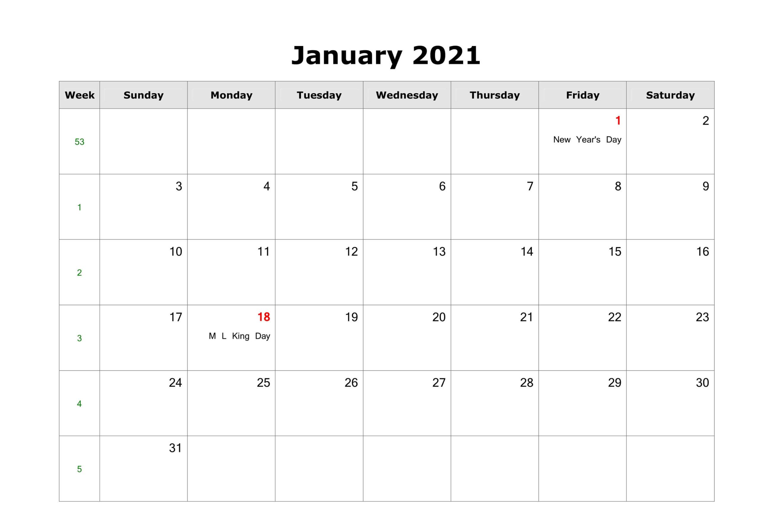 Fillable January Calendar 2021