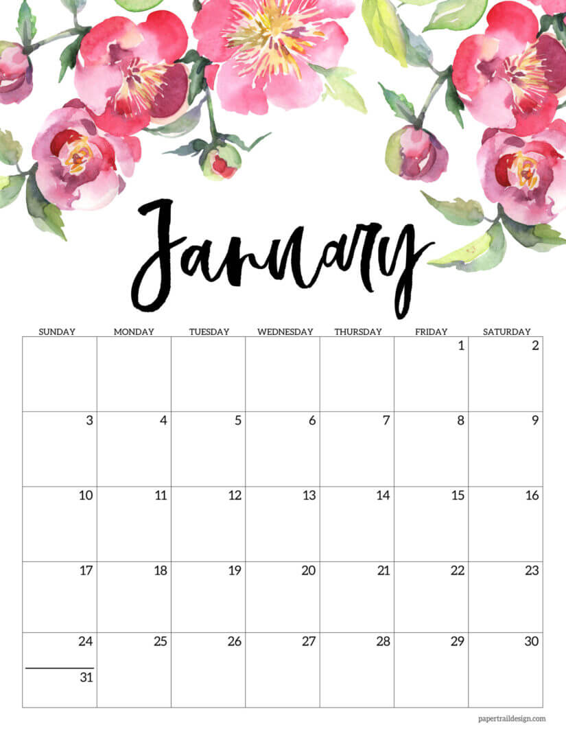 Floral January 2021 Office Desk Calendar