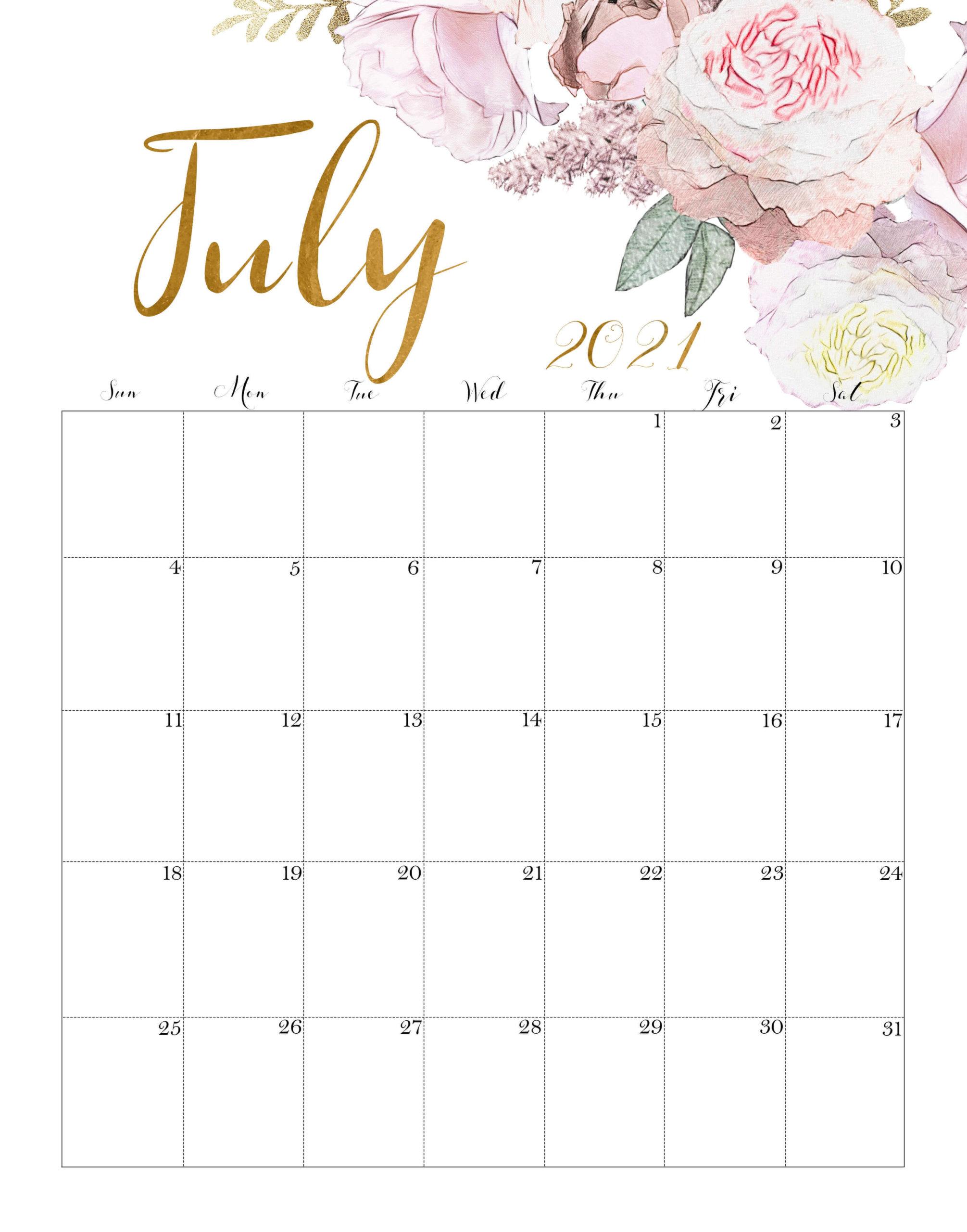 Floral July 2021 Calendar Template