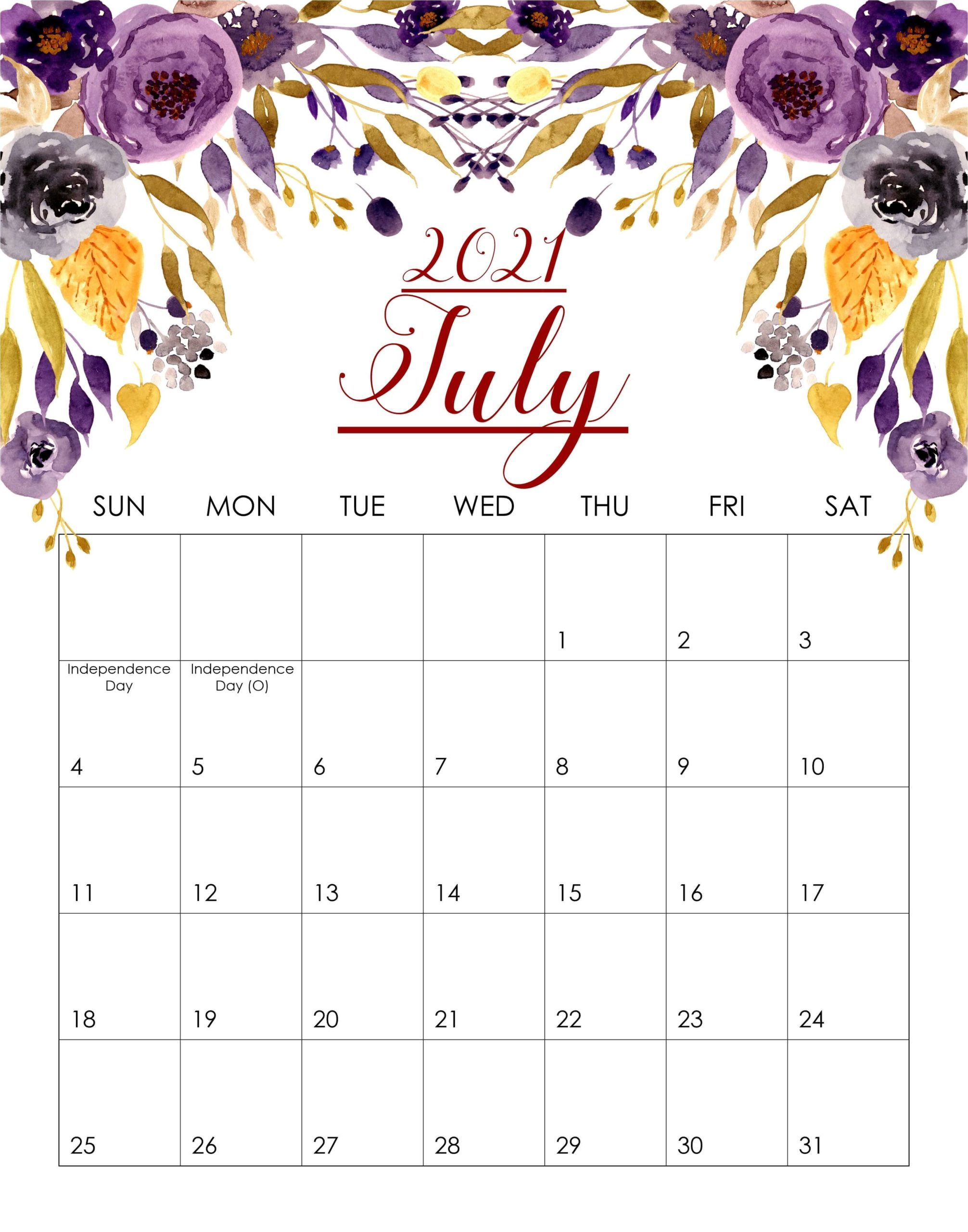 Floral July 2021 Cute Calendar