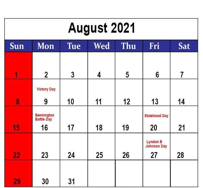 Holidays Calendar August 2021