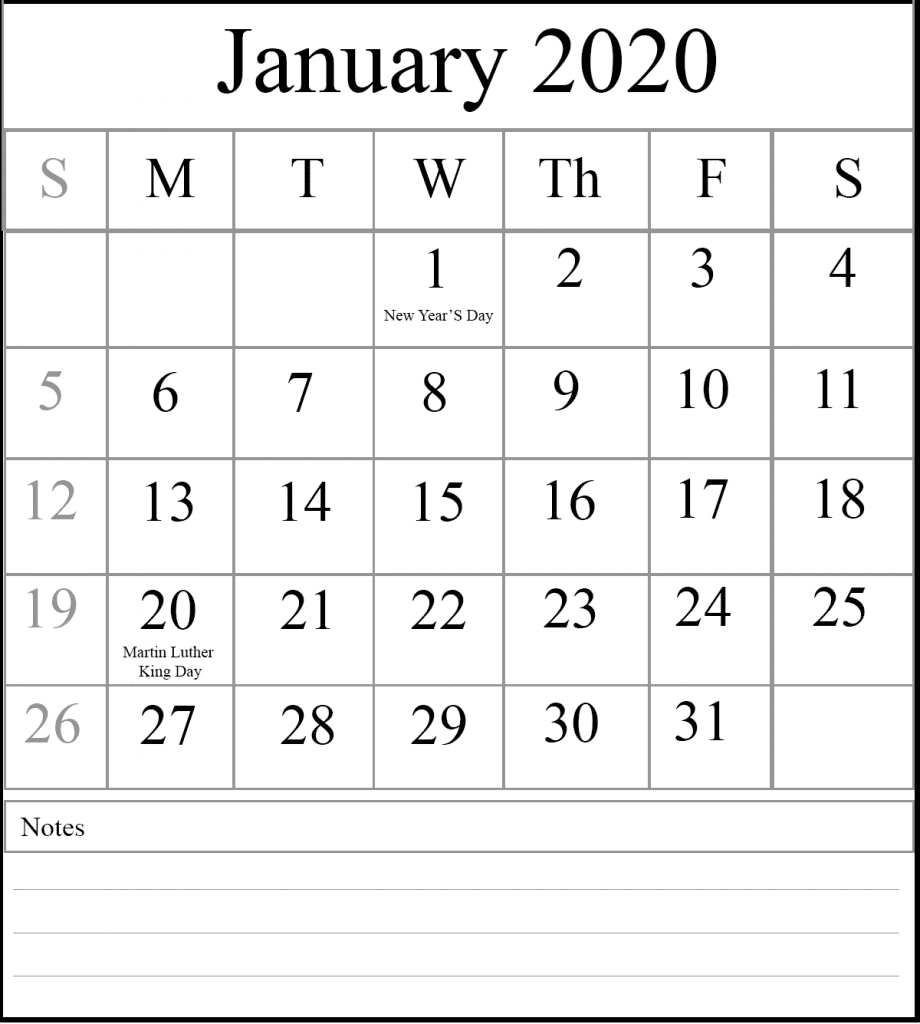 Editable Calendar January 2020 Template: Free Fillable January Calendar 2020 Printable Editable