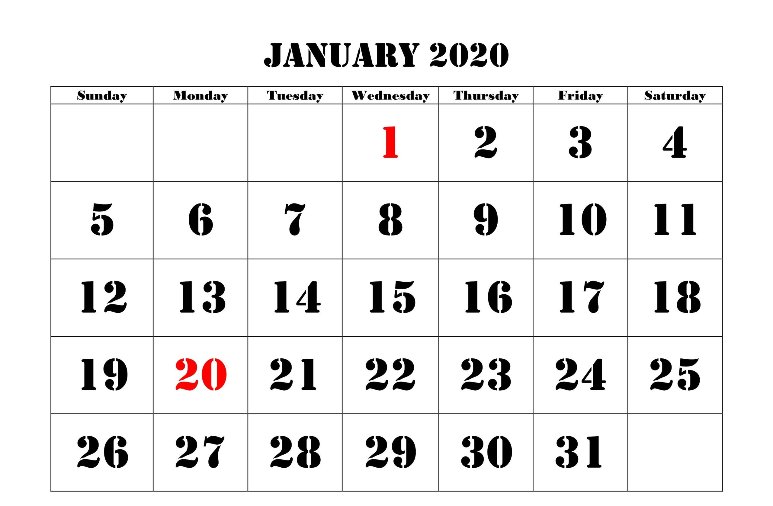 January 2020 Calendar Fillable Template