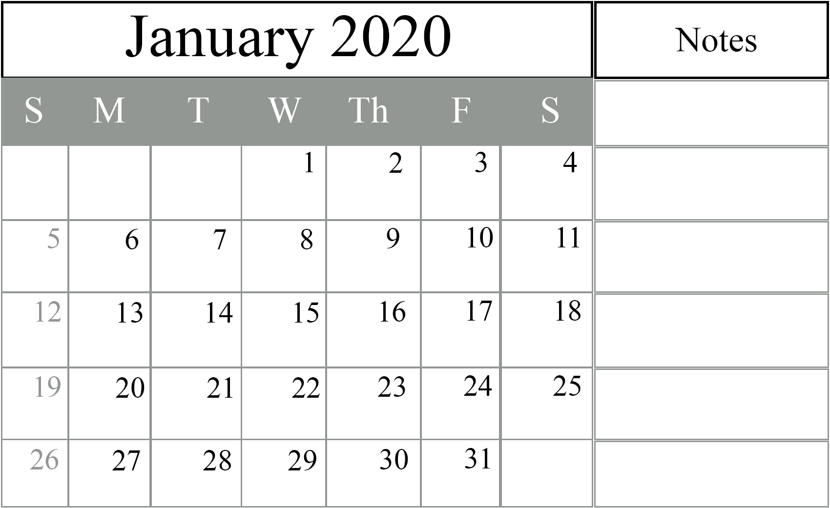 January 2020 Editable Calendar with Notes