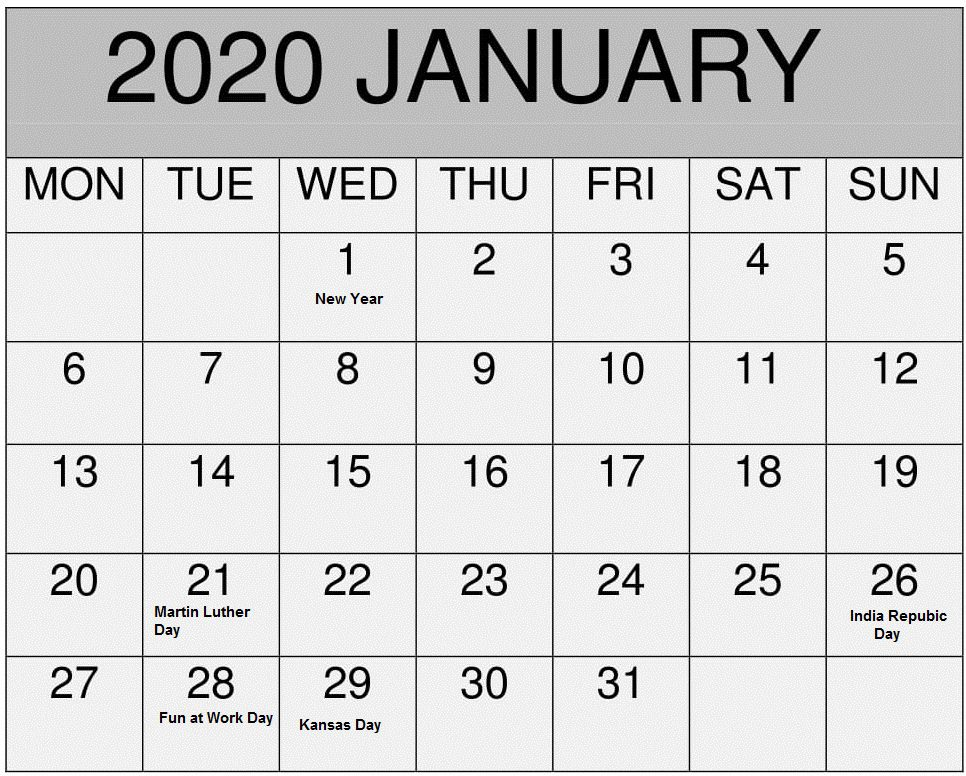 January 2020 US Calendar Template