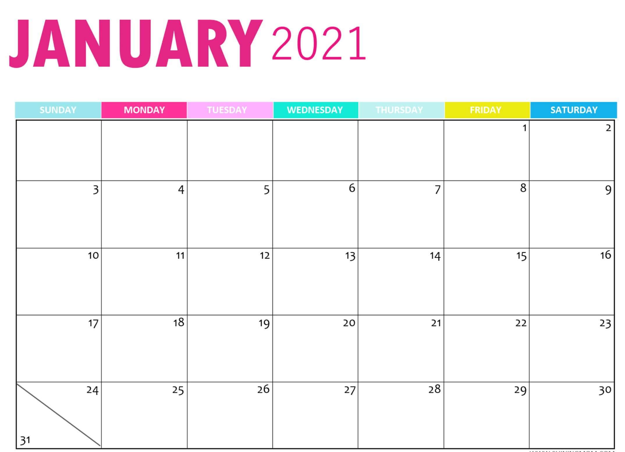 January 2021 Calendar Cute