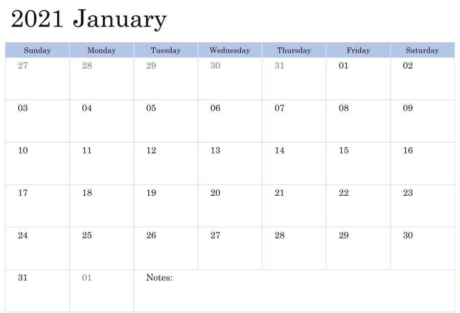January 2021 Fillable Calendar