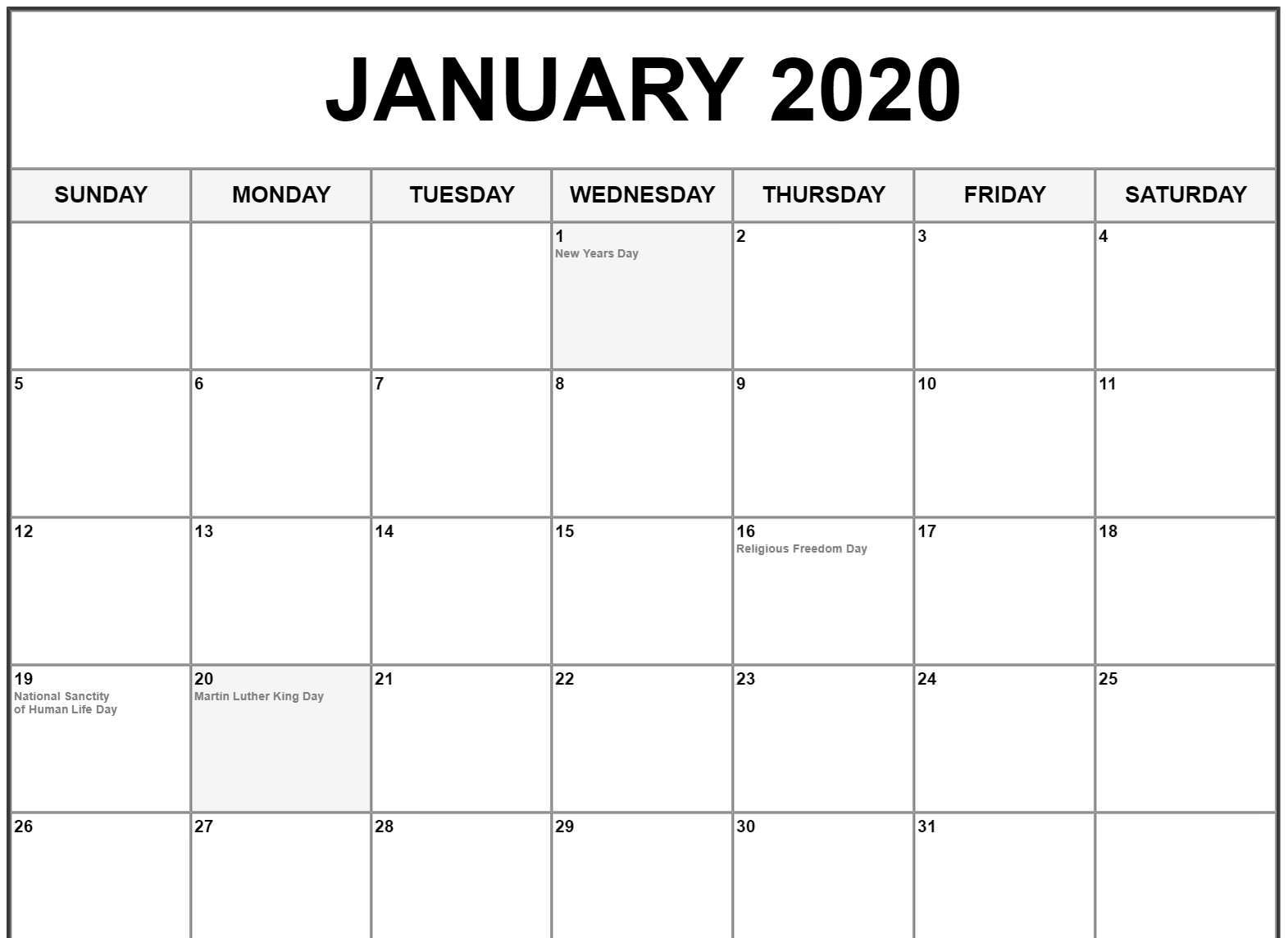 January Calendar 2020 Fillable