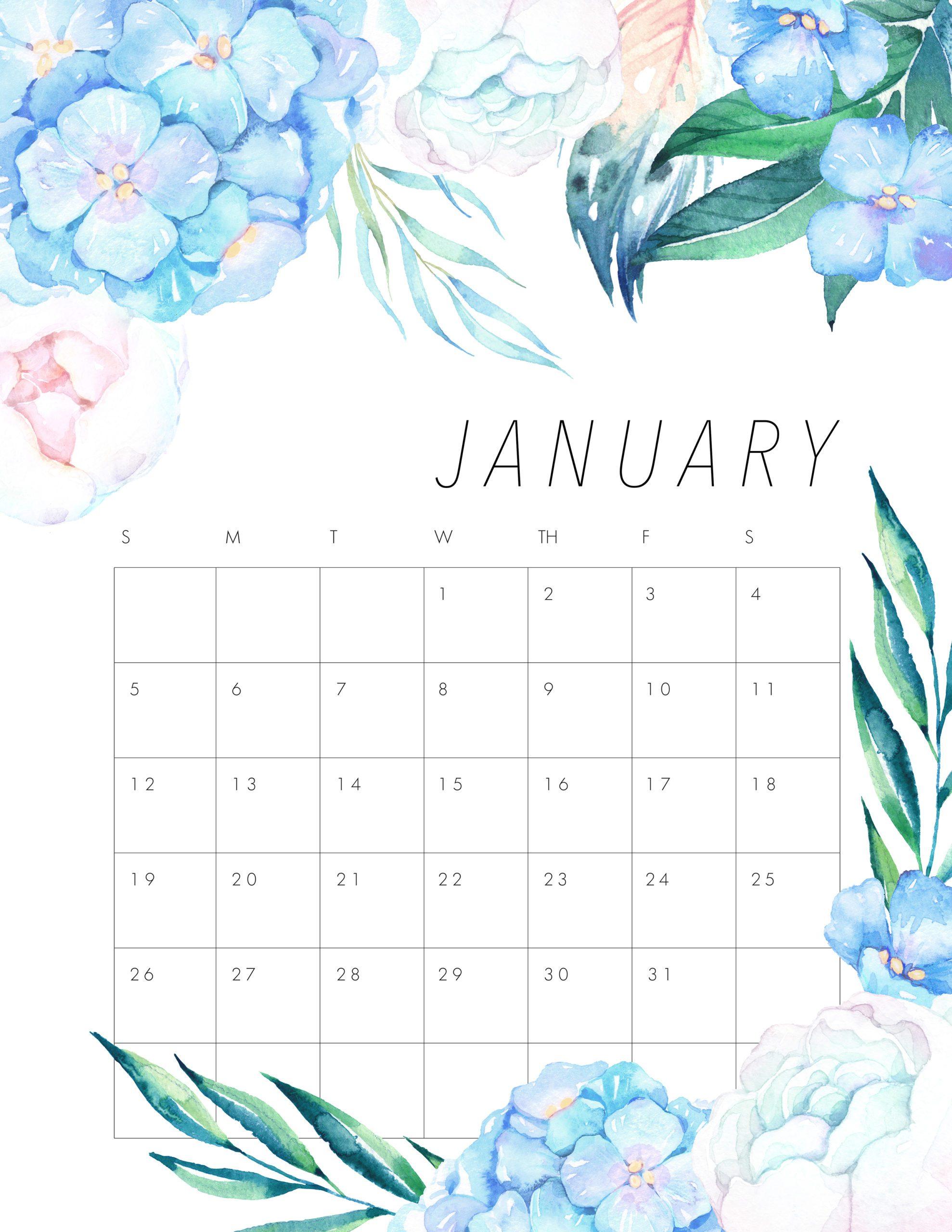 January Calendar 2020 Floral