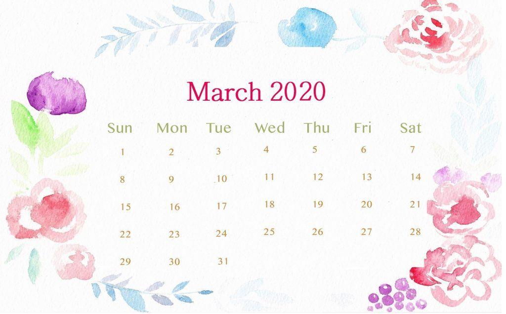 March 2020 Calendar Wallpaper for Laptop