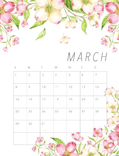 March Calendar 2020 iPhone Wallpaper
