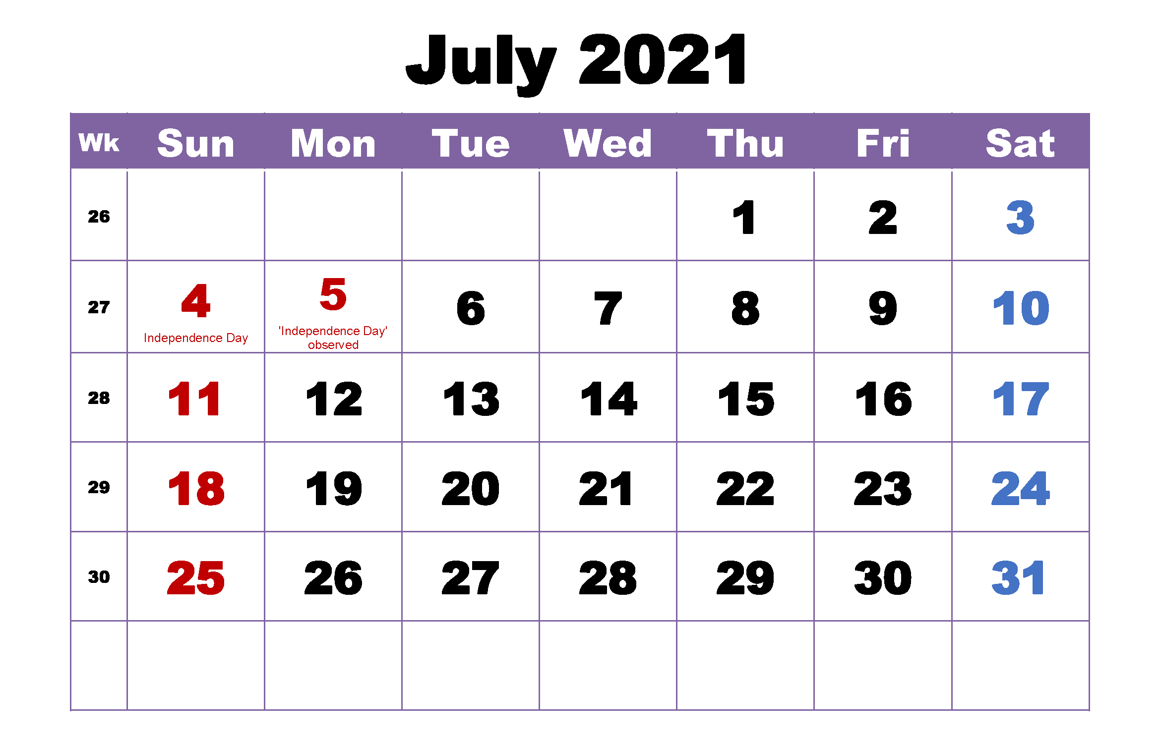 Monthly 2021 July Calendar PDF