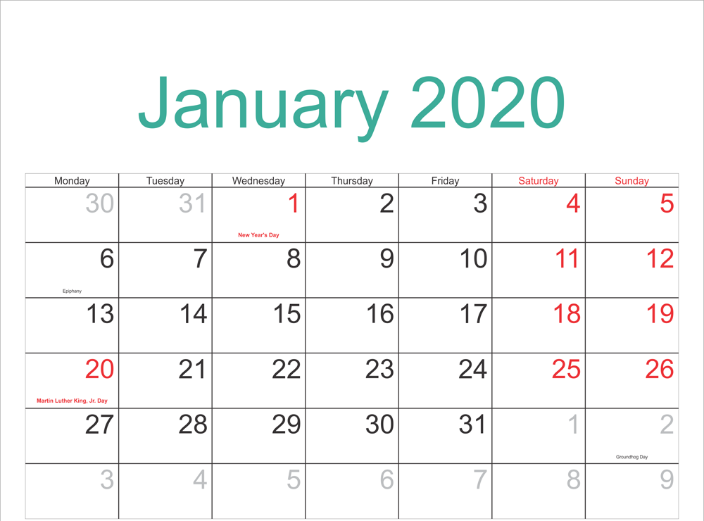 New Moon January Calendar 2020 Template