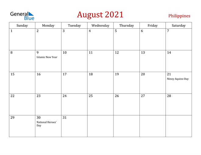 Philippines August 2021 Calendar With Holidays